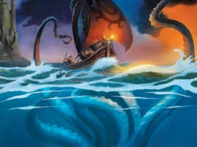 kraken rising from the ocean depths to attack a sailing ship