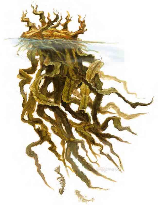 An amorphous kelp creature with it's head floating just above the water and strands of kelp flowing out beneath.