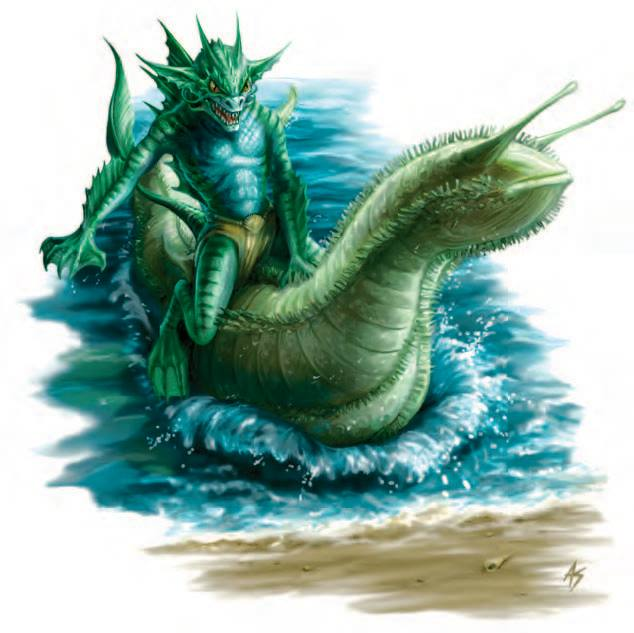 A green shark-person with a wicked grin riding out of the water on a giant slug-like creature.